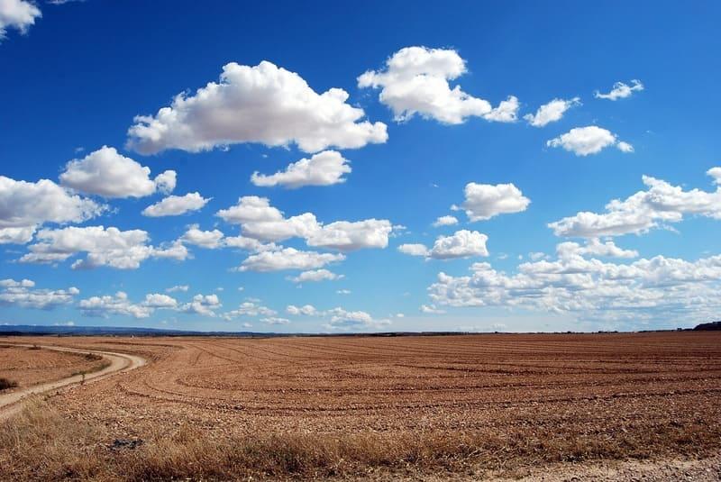 青空にぷかぷかと浮かぶ積雲と草原広がる田舎の写真