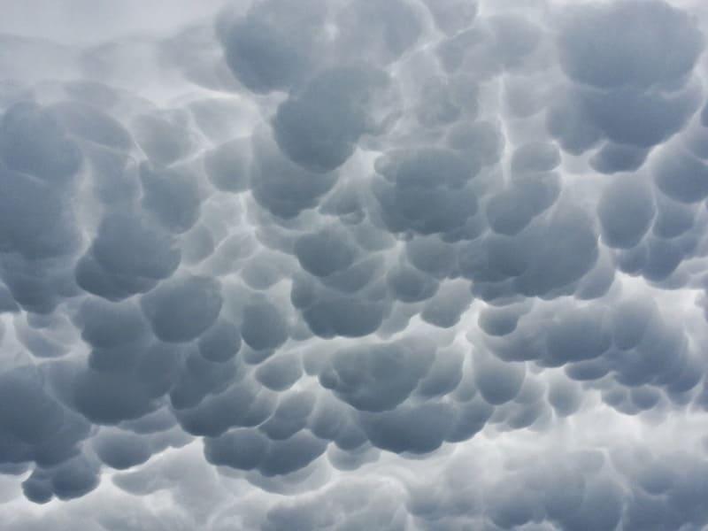 ぼこぼこと不思議な形が一面に広がっている乳房雲の写真