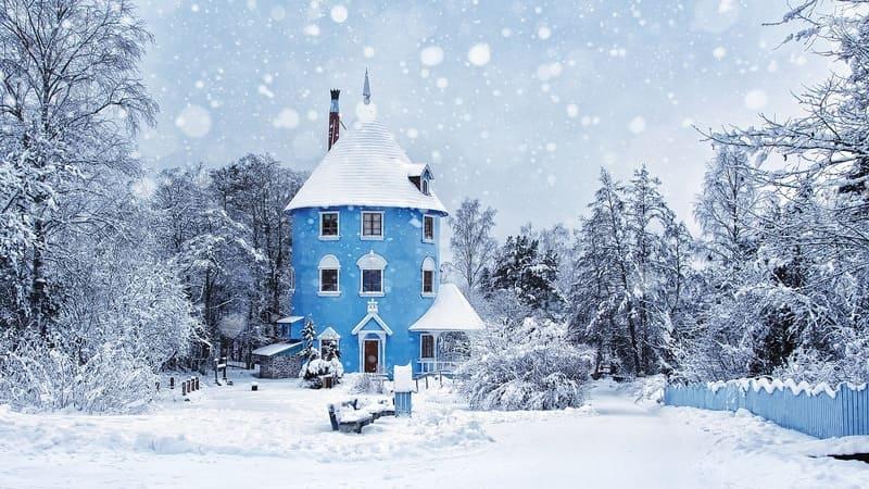 降雪がキレイに写った海外の家屋を写した写真
