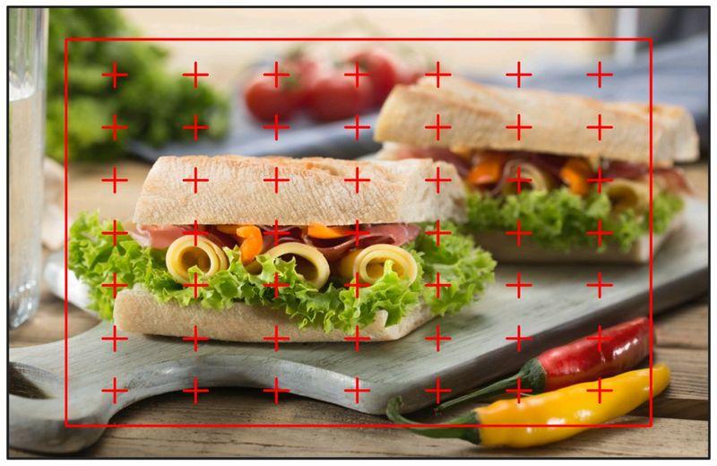 まな板の上に置かれた2つのサンドイッチをオートエリア設定で撮られたイメージ図