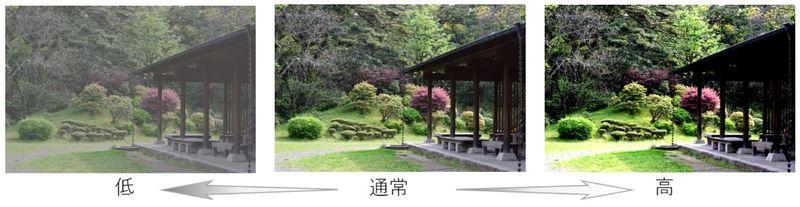庭園の休憩所と草木の写真のコントラストの違いによる印象の違い比較