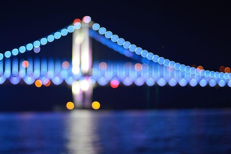 夜のレインボーブリッジをぼかして丸ボケを効かせた海からの写真