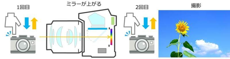 ミラーアップモードで撮影するときのイメージ図