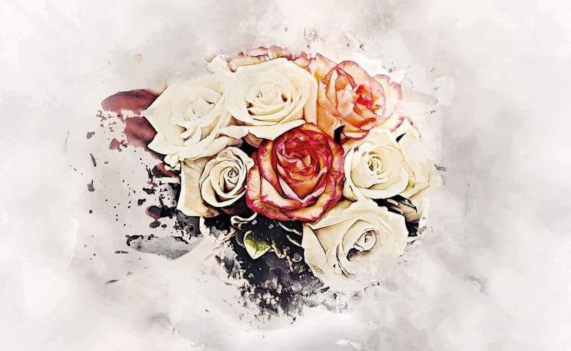 絵で描かれたような花瓶に入った赤と白のバラ