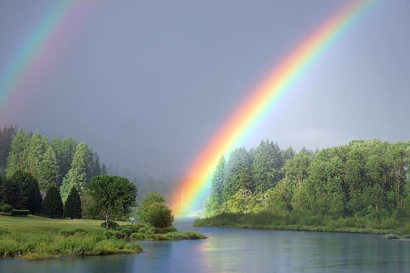 川と森とともに色濃く写った虹と副虹の写真