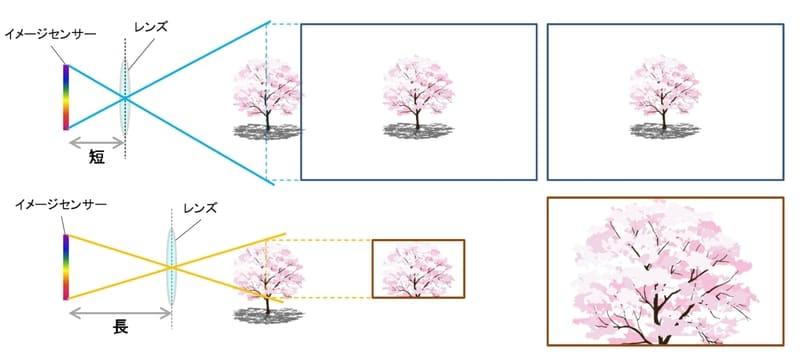 焦点距離と画角が関係を示すイメージ図