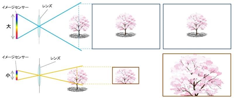 イメージセンサーと画角の関係を表すイメージ図