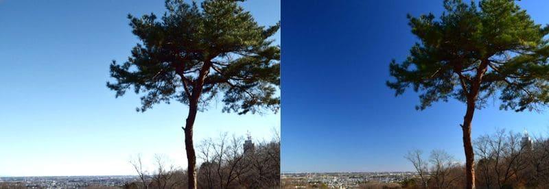 PLフィルターで空を色鮮やかに写した比較写真