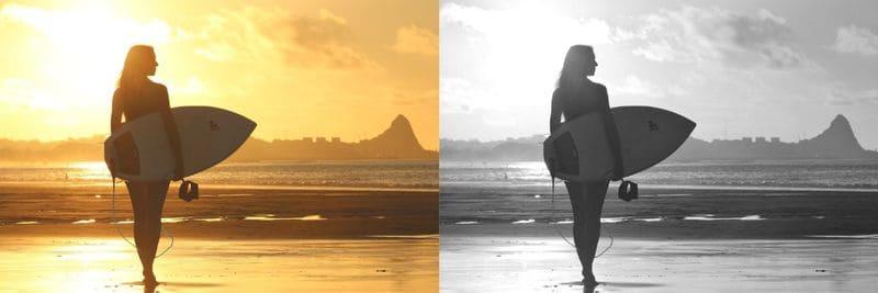 夕焼けの海のカラーとモノクロの比較写真