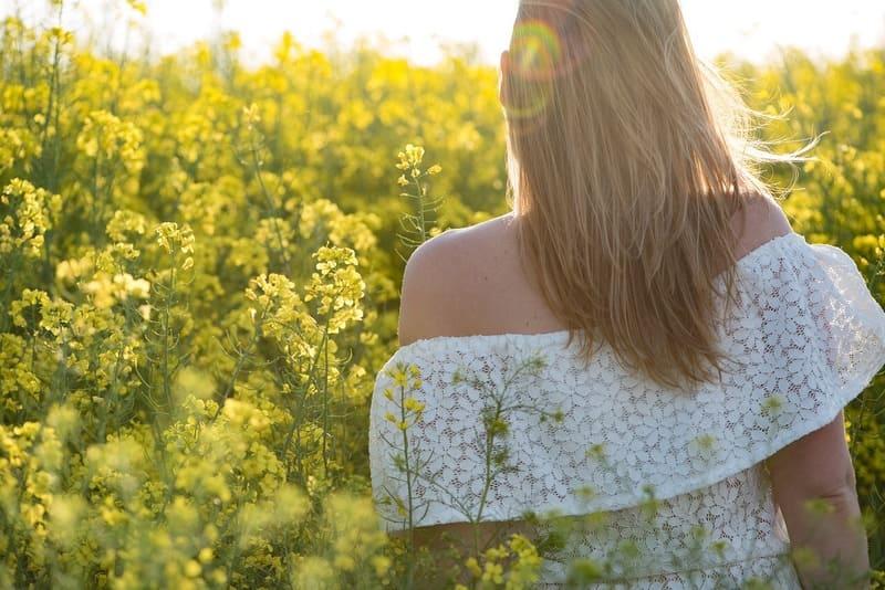 菜の花畑の中にいる女性の後ろ姿