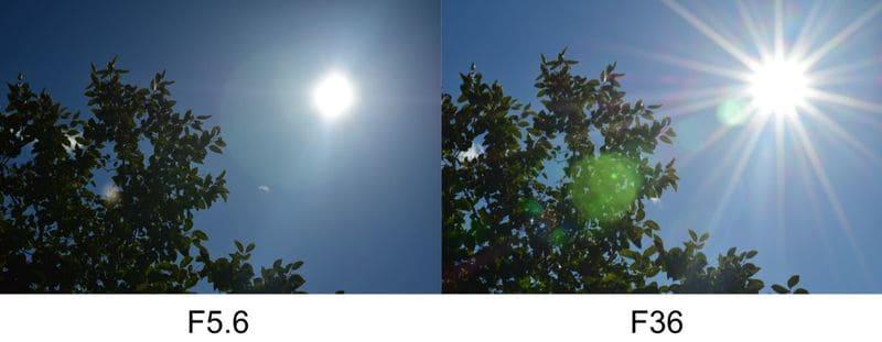 絞りを変えた場合の光芒の現れ方の違い