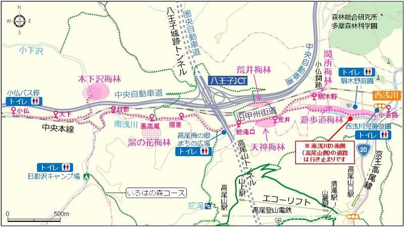 体顔梅郷の交通地図