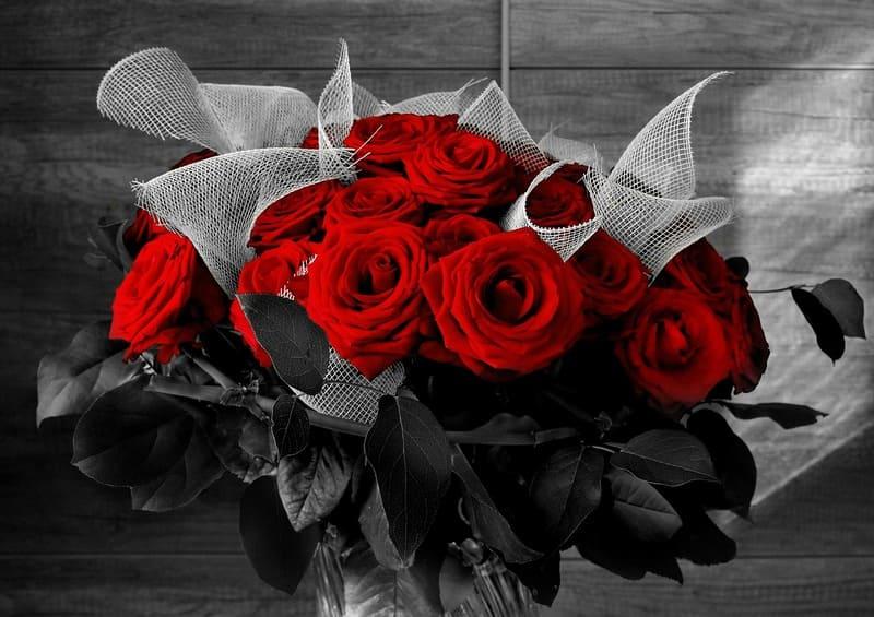 花瓶に入ったバラのセレクトカラー