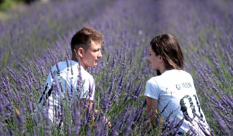 ラベンダー畑の中のカップル