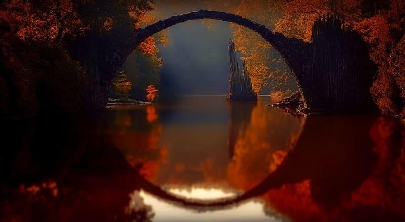 川に映った橋で円形になった写真