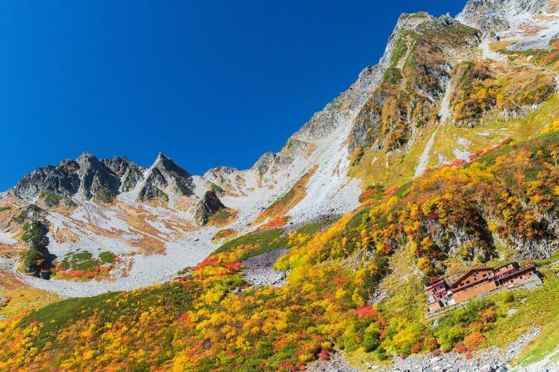 山のふもとの紅葉
