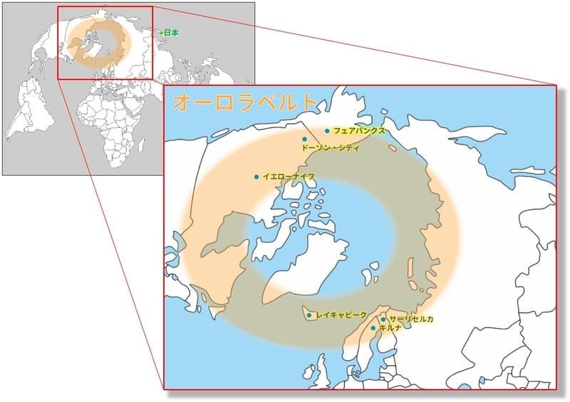 北極圏のオーロラオーバルと主要な観光地