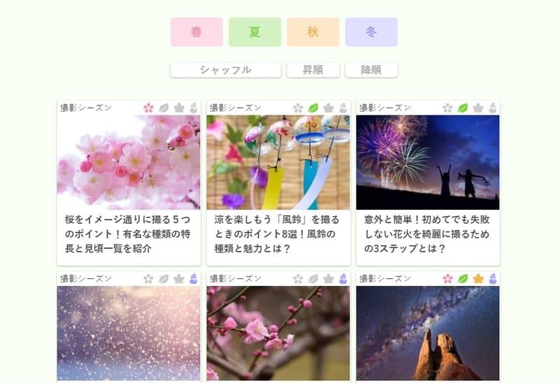 春夏秋冬被写体カレンダーの全体像