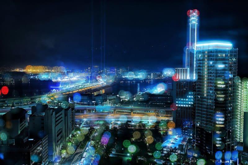 比較明合成を使った夜景写真